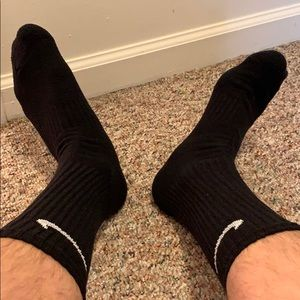 Black men's Nike crew socks worn